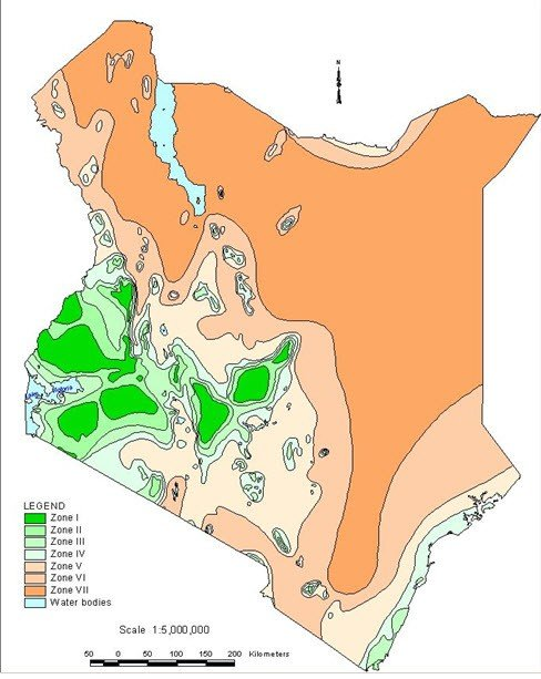 <p> <b>Agro-climatic zones</b> of Kenya</p>      <p>(c) Kenya Soil Survey</p>