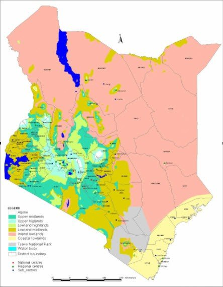 <p> <b>Agro-ecological zones</b> of Kenya, Soil Survey July 2008</p>      <p>(c) P.M. Maingi</p>