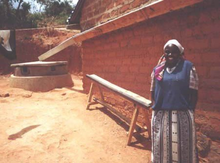 <p><b>Gutters on rural buildings</b>: here, water is being collected from both sides of a double-pitched roof by means of hanging a gutter along the gable of the house. </p>      <p>© E. Nissen-Petersen, Kenya</p>