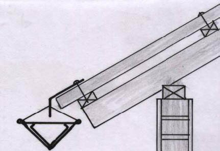 <p>Another improvement is to <b>suspend the gutter by galvanised wires from holes made in the splash-guard</b>. The wires can easily be adjusted to give the gutter the required gradient 1:100 towards the water tank for uneven roofs as well as for roofs as well as for roofs without facia-boards. </p>      <p>© E. Nissen-Petersen, Kenya</p>
