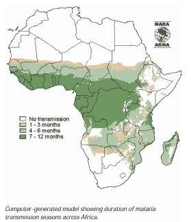 "<p>Duration of <b>Malaria Transmission Season</b></p>      <p>(c) MARA / ARMA Mapping Malaria Risk in Africa. <a href=""http://www.mara.org.za"">www.mara.org.za</a> </p>"