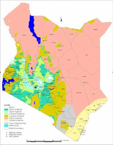 The <b>agro-ecological zones</b> of Kenya, Soil Survey July 2008